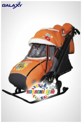 Санки коляска GALAXY KIDS 1-2 «оранжевый - два медведя на санях»