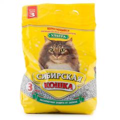 """Наполнитель для кошачьего туалета Сибирская кошка """"Ультра"""" комкующийся 3л"""