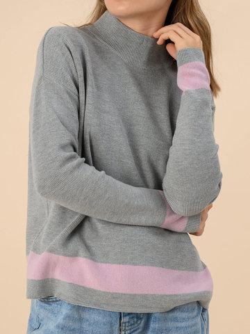 Женский джемпер светло-серого цвета из хлопка - фото 4