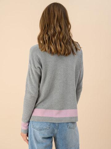 Женский джемпер светло-серого цвета из хлопка - фото 2