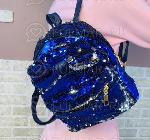 Рюкзак с пайетками и Бантом меняет цвет Синий-Серебристый