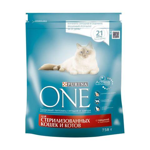 Purina One сухой корм для стерил/кастр кошек с говядиной 750 г