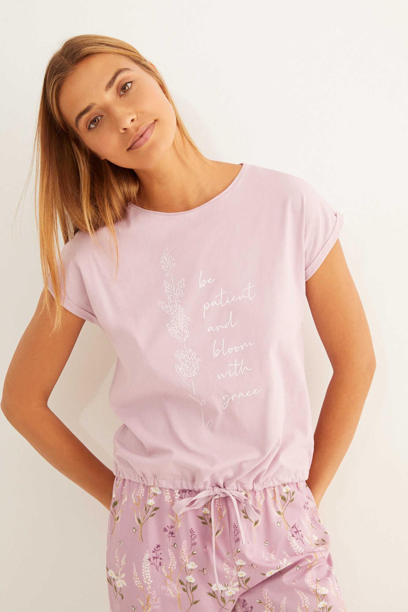 Довга рожева піжама з органічної бавовни