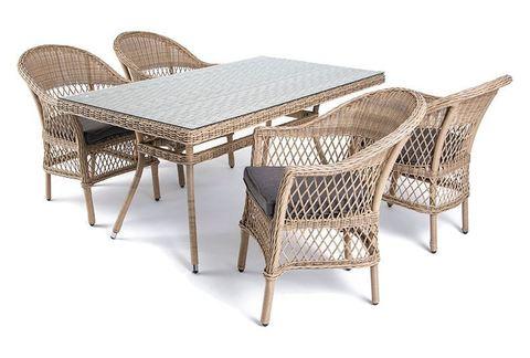Комплект мебели из искусственного ротанга. Обеденная группа на 4 человека.