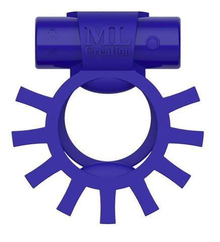 Синее перезаряжаемое эрекционное виброкольцо Super Ring