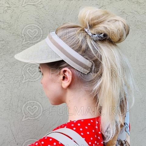 Козырек-ободок от солнца на голову Бежевый