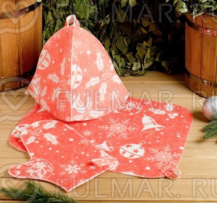 Набор в баню женский Новогодний с термопечатью 3 элемента: шапка, коврик, рукавица цвет: розовый фото