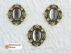 Камни овалы в оправе старое золото зеркальные серые