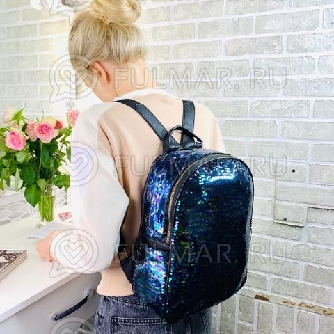 Рюкзак большой школьный для девочки в пайетках с боковыми карманами цвет: Синяя русалочка