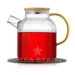 Заварочный чайник стеклянный 1,2 литра из рельефного стекла с бамбуковой крышкой и желтой ручкой