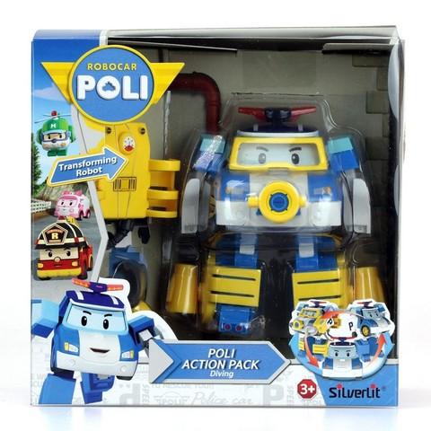 Robocar Poli Поли трансформер 10 см + костюм водолаза (Робокар Поли) Silverlit 83310