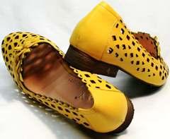 Кожаные женские босоножки туфли на широком каблуке Phany 103-28 Yellow.