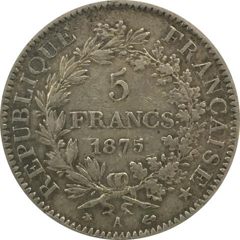 5 франков 1875 год. Геркулес (VF-)