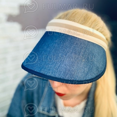 Козырек-ободок от солнца на голову Синий