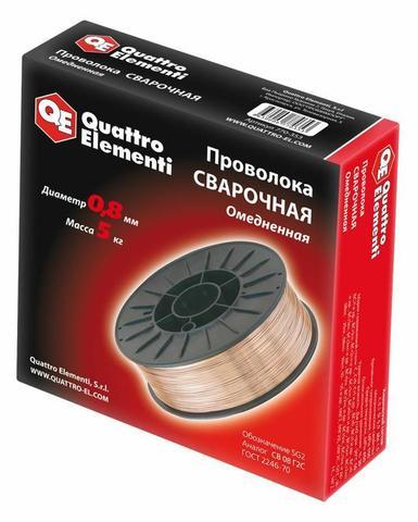 Проволока сварочная QUATTRO ELEMENTI  омедненная,  0,8 мм, масса 5,0 кг (770-353)