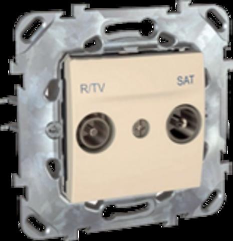 Розетка R-TV/SAT проходная. Цвет Бежевый. Schneider electric Unica. MGU5.456.25ZD