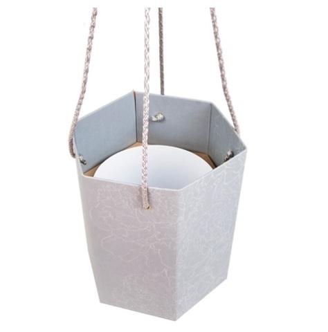 Коробка-ваза с пластиковой вставкой 25х25х27см L Цвет:дымчатый