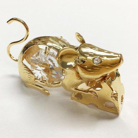 Мышка с сыром, позолота, U-5431/PG