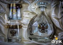 Подарочный  набор «Отчизна»: штоф 800 мл, 2  стакана 275 мл, фото 2
