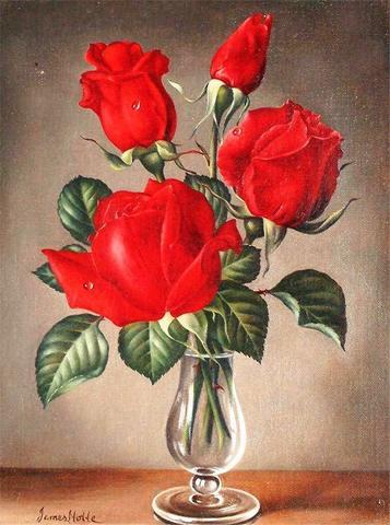 Картина раскраска по номерам 30x40 Красные розы в бокале