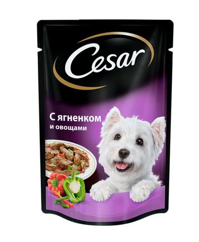 Cesar пауч для взрослых собак всех пород с ягненком и овощами 100 г
