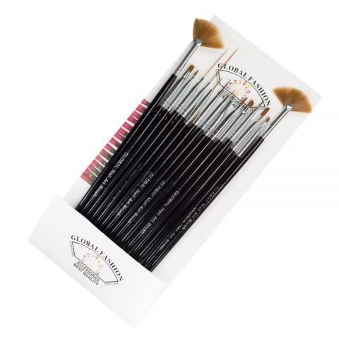 Профессиональный набор кистей для росписи ногтей Global Fashion из 15 штук.