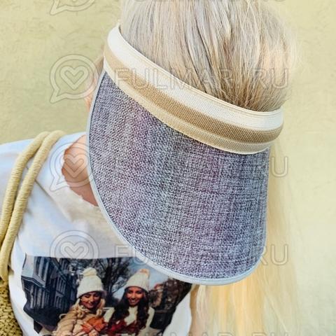 Козырек-ободок от солнца на голову Серый с переливающимся эффектом