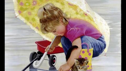 Картина раскраска по номерам 40x50 Девочка с котенком