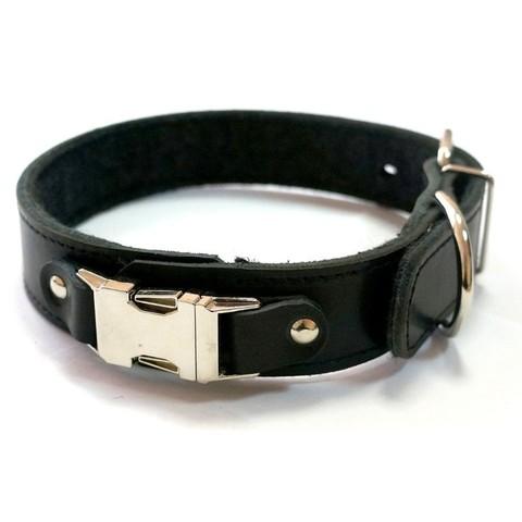 Зооэкспресс ошейник кожаный быстросьемный черный 20мм 42см