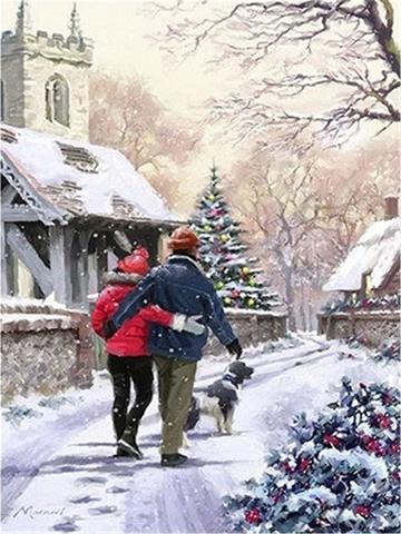 Картина раскраска по номерам 40x50 Новогодняя прогулка