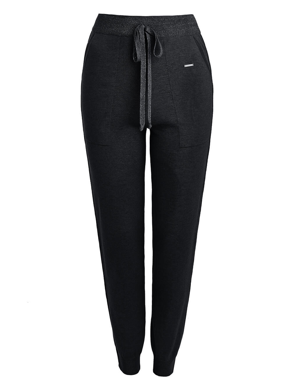 Черные брюки из шёлка и кашемира спортивного силуэта - фото 1