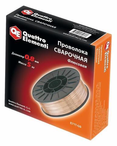 Проволока сварочная QUATTRO ELEMENTI флюсовая  0,8 мм, масса 5,0 кг (770-377)