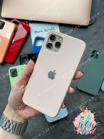 Чехол iPhone 11 Pro Max Glass Pastel color Logo /pink sand/