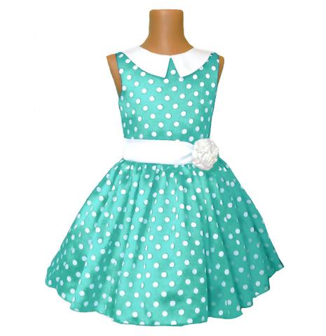 Платье бирюзовое в горох с воротником