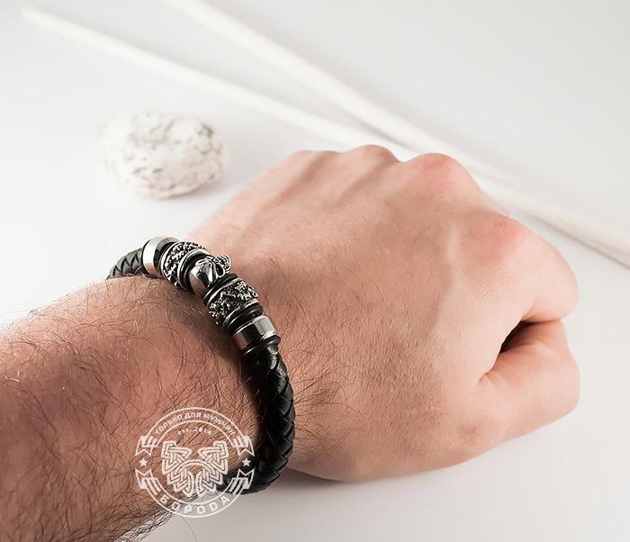 BM373 Мужской браслет с черепом из стали и кожаного шнура, магнитная застежка (21 см) фото 09