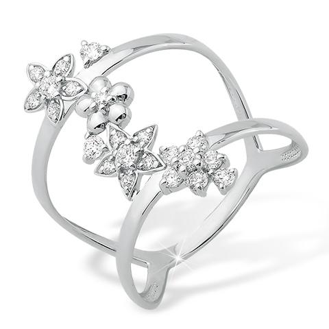 1010010927 - Кольцо  из серебра на первую фалангу с фианитами