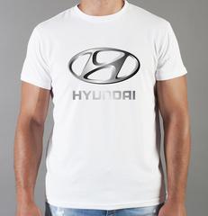 Футболка с принтом Хендай (Hyundai) белая 005