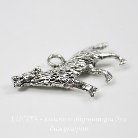 """Подвеска """"Волк"""" 3D (цвет - античное серебро) 25х17 мм ()"""
