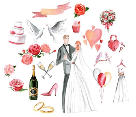 Печать на вафельной бумаге, Набор Свадьба 3