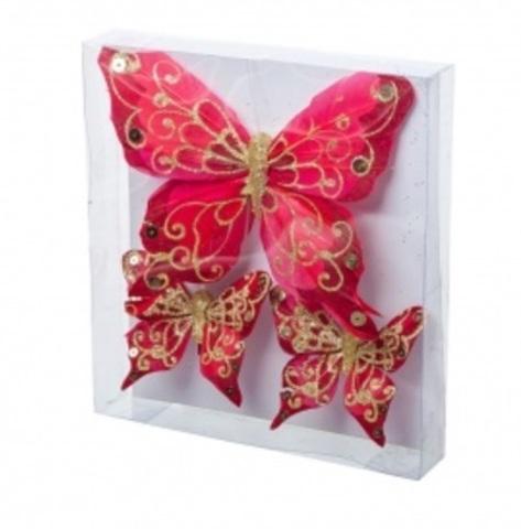 Набор бабочек с глиттером на прищепках 3шт., (15см и 8см), цвет: красный