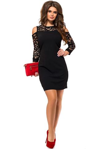 Короткое платье с кружевными рукавами, черное 1