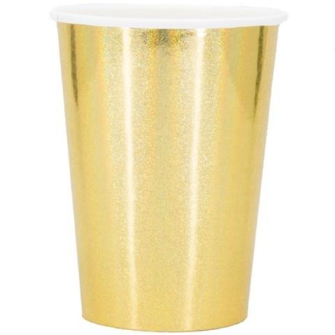 Стакан гологр золотой 250мл 6шт