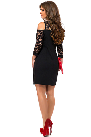 Короткое платье с кружевными рукавами, черное 2