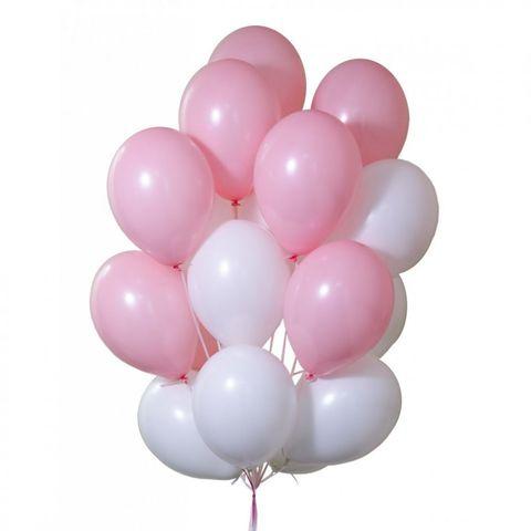 Воздушные шары с гелием Бело-розовые