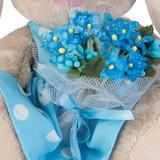 Зайка Ми в голубом платье с букетом незабудок