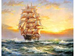 Картина раскраска по номерам 40x50 Корабль в море на закате