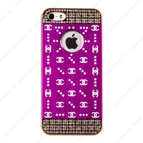 Накладка GUCCI металлическая для iPhone SE/ 5s/ 5C/ 5 серебро фиолетовая