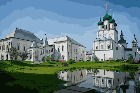 Алмазная Мозаика 40x50 Белые здания и церковь
