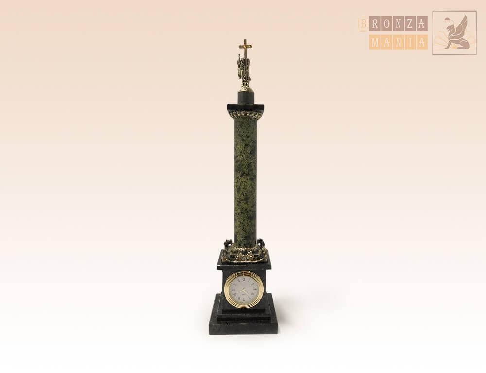 часы Александрийский столп бронза - змеевик