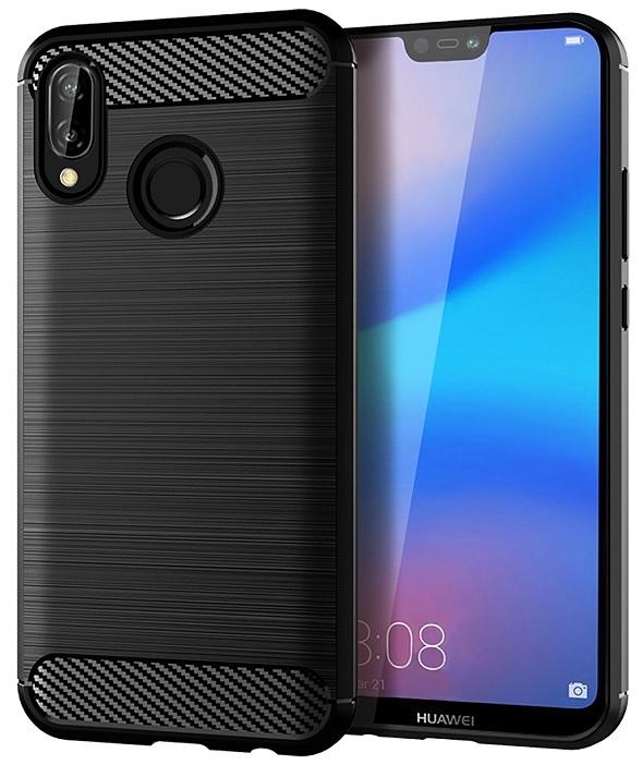 Чехол черного цвета для Huawei P20 Lite, серии Carbon от Caseport